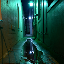 green mile by David Ubach - City,  Street & Park  Night ( water, green, puddle, city, alley )