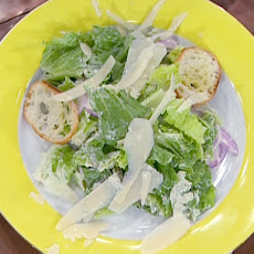 Romaine Salad with Creamy Garlic Dressing and Roasted Garlic Croutons