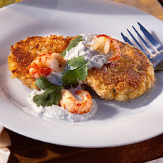 Crawfish Cakes with Cilantro-Lime Cream