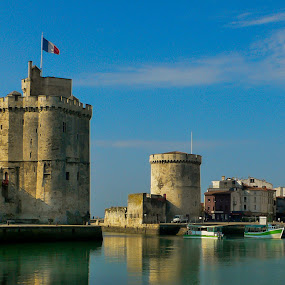 Two towers by Aleksey Maksimov - Buildings & Architecture Public & Historical ( water, towers, harbour, reflections, la rochelle,  )