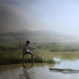 little hunter by Budi Cc-line - Digital Art People ( hunter, indonesia, crocodile )