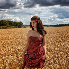 Immersed  by Colin Dixon - People Portraits of Women ( clouds, beautiful, summer, harvest, red dress, corn )