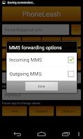 Screenshot of PhoneLeash: SMS/MMS forwarding