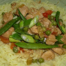 Chicken in Peanut Curry With Saffron Rice and Snow Peas