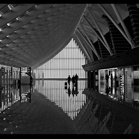 Taipei International Airport by Daniel Legendarymagic - Black & White Buildings & Architecture ( airport, reflection, songshan, taiwan, taipei, international, bw )