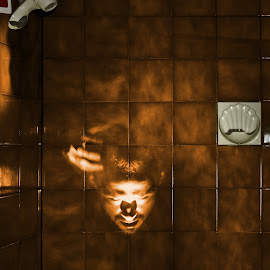 Thinking of Halloween by Jonathan Ferland-Valois - Abstract Light Painting ( scary, hand, creepy, face, shower, devil, halloween )