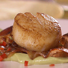 Seared Scallops with Pancetta over Avocado and Wasabi