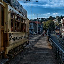 No Porto by Guy Gillade - City,  Street & Park  Street Scenes ( old tram )