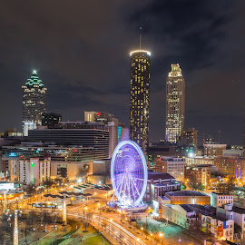 Atlanta at night by Sarah Shinners - City,  Street & Park  Skylines ( skyline, georgia, long exposure, atlanta )