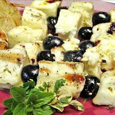 Halloumi and Olives Skewers