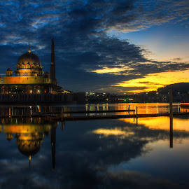 view sunrise at the mosque putrajaya by IshOne Nawi - Buildings & Architecture Other Exteriors ( canon, reflection, waterscape, mosque, 60d, malay, architecture, travel, landscape, education, canon eos, photography, kuala lumpur, sun, sky, place of worship, water, building, masjid, putrajaya, malaysia, lake, seascape, places, 17-40mm, sunset, sunrise, view, design )