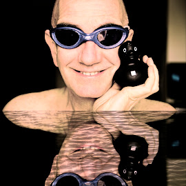Selfie in the pool with rubber duck by Andrew Robinson - People Portraits of Men ( selfie, rubber duck, goggles, swimming, Selfie, self shot, portrait, self portrait )