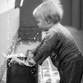 When we were children by Pierre Vee - Black & White Street & Candid ( water, splash, black and white, boy,  )