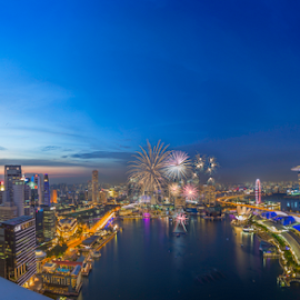 Fireworks by GokulaGiridaran Mahalingam - City,  Street & Park  Skylines ( skyline, national day, tall buildings, blue hour, dusk, marina bay, singapore, photography, city, skyscrapper, raffles, sunset, buildings, one raffles place, fireworks, crackers, skylines, street and park, esplanade )