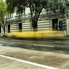 Yellow Streak Street Scene by Matt Dittsworth - City,  Street & Park  Street Scenes ( cab, streak, bike, california, yellow, san francisco )