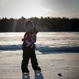 Morning Skate by Jennifer Bacon - Sports & Fitness Ice hockey ( skate, hockey, winter, shadow, sports, kids, morning, puck )