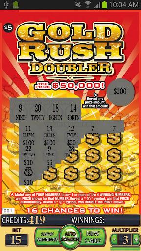 GOLD RUSH DOUBLER Lotto Card - screenshot