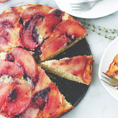 Peach Upside-Down Ricotta Cake