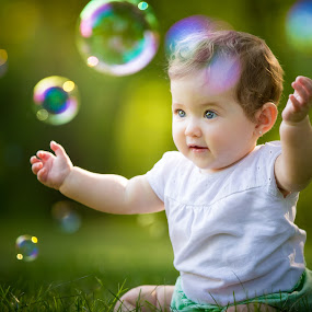 Fun Bubbles by Mike DeMicco - Babies & Children Child Portraits ( grass, green, beautiful, bubbles, little, fun, cute, portrait, kid, child, bubble, girl, nature, outdoors, summer, baby )