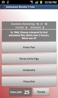 Screenshot of Animated Movies Trivia