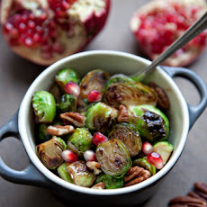 Honey Pomegranate Glazed Brussels Sprouts