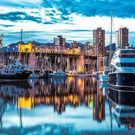 Granville Island by Stephen Bridger - City,  Street & Park  Neighborhoods ( granville island, canada, boats, harbour, travel, bridge, boat, bc, vancouver, travel photography, british columbia, burrard street bridge )