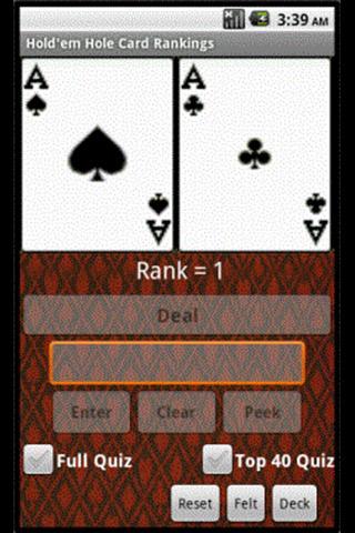 Hold'em Hole Cards Rank n Quiz