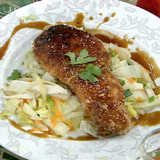 Macadamia Nut Crusted Opah with Cabbage Stir Fry