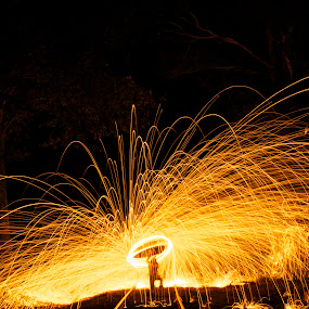 Fire overhead by Chris Taylor - Abstract Fire & Fireworks ( abstract, night photography, spinning fire, long exposure, sparks, fire )