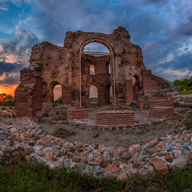 Sunset at Red church by Petar Shipchanov - Buildings & Architecture Public & Historical ( history, red, church, sunset, perushtitsa, historical, bulgaria )