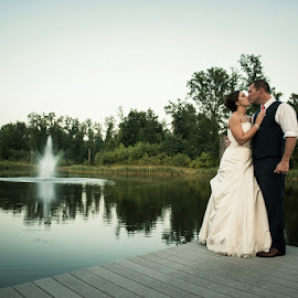 K&S by Julie Steinberg - Wedding Bride & Groom ( water, wedding, fountain, lake, bride, groom, dock, Wedding, Weddings, Marriage )