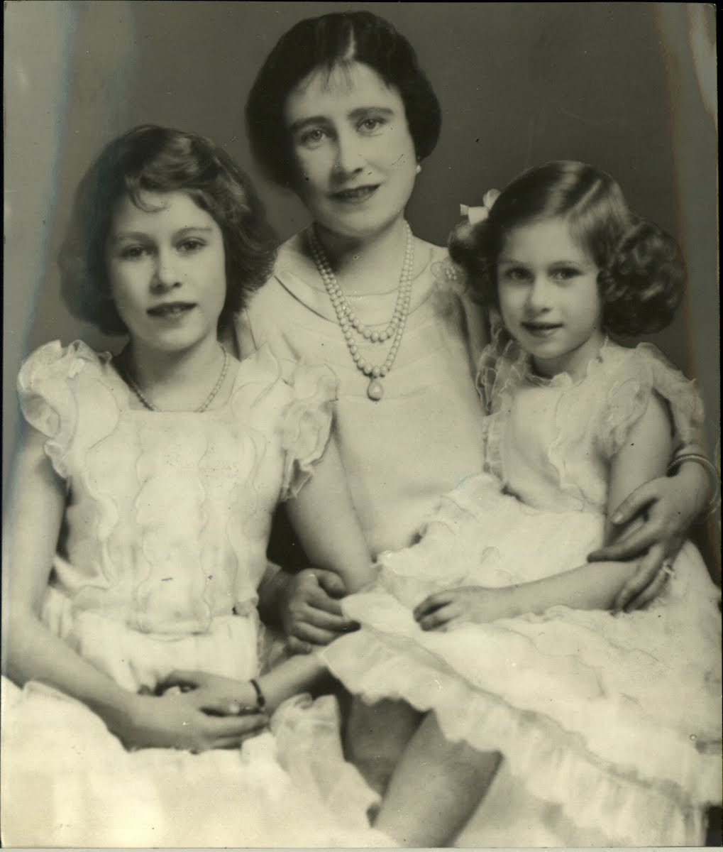 Princess Elizabeth with her mother and sister