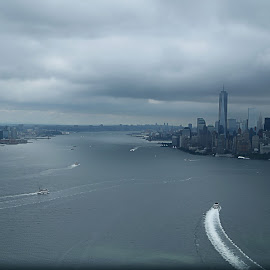 Manhattan by Berrin Aydın - City,  Street & Park  Skylines ( helicopter, scape, trip, new york, usa )
