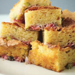 White Chocolate & Pistachio Sponge Blondies