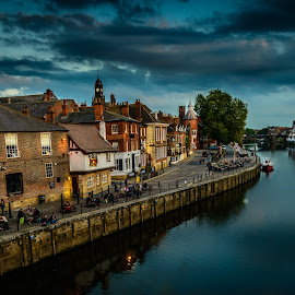 York  by Armando Bruck - City,  Street & Park  Street Scenes ( england, night, york, river )