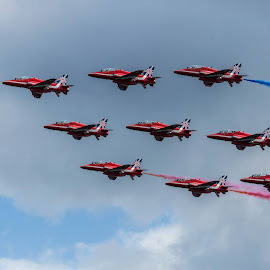 The Red Arrows by Nigel Chas Fowler - Transportation Airplanes