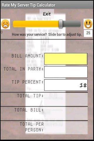 Rate My Server Tip Calculator