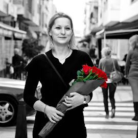 Roses and Her by Nerijus Liulys - People Street & Candids ( rose, black and white, street, roses, candid, selective color, pwc )