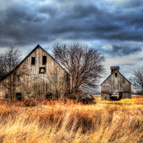 Once Upon a Farm by John Larson - Buildings & Architecture Decaying & Abandoned ( clouds, farm, sky, grass, trees, barns )