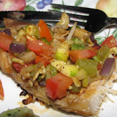 Vegetable Brushetta Pork Chops