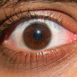 The Eye by Praveen Kumar - People Body Parts ( open, red, white, brown, lense, closeup, eye )