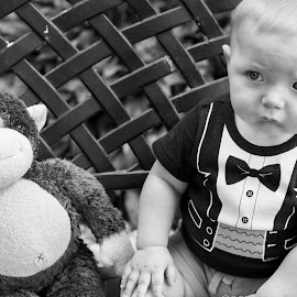 Best Friends by Joel Jones - Babies & Children Children Candids ( tuxedo, teddy bear, black and white, baby )