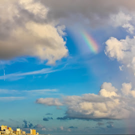 Rainbow Over Panama City Beach by Brenda Hooper - Landscapes Weather ( atlantic ocean, waterscape, florida, weather, beach, landscape, rainbow, panama city beach, skyscape )