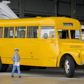 Old school bus by Vibeke Friis - Transportation Other ( hanger, bus, yellow, yellow school bus,  )
