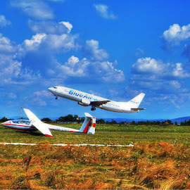 Airplane by Pârlojan Monica - Transportation Airplanes ( flight, plane, blue, airplane, aircraft, air )