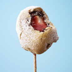 Chocolate-Strawberry Waffle Ball on a Stick