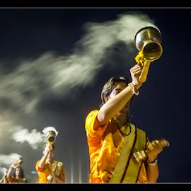 Sandhyarati 2 by Subrata Kar - People Musicians & Entertainers ( colour, arati, beneras, ganges, holy )