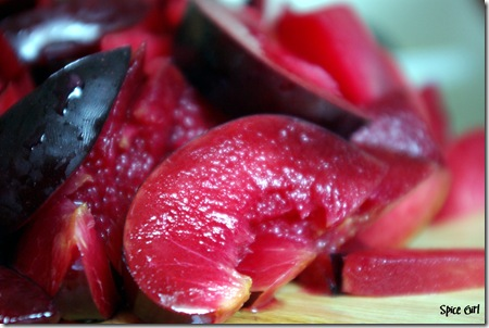 sliced plums