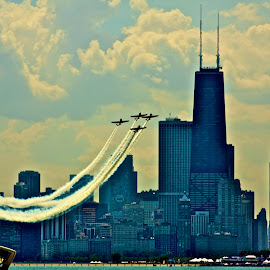 CHICAGO SKYLINE AIR SHOW by Ron Kreft - City,  Street & Park  Skylines ( plane, chicago, air show )