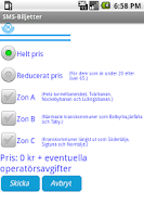 Screenshot of SMS-Biljetter